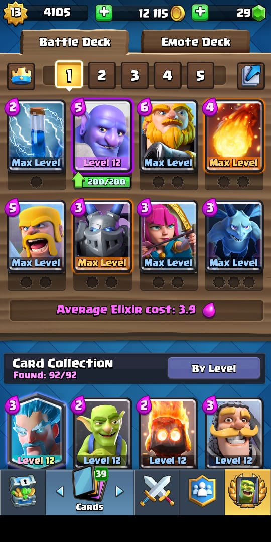 Clash Royale Mobile MAX LV 13 | 7 CARD MAX + 2 CAN MAX | TROPHY 5753 |FULL CARD 92/92 | ROYALE GIANT META |Andro & IOS | R122